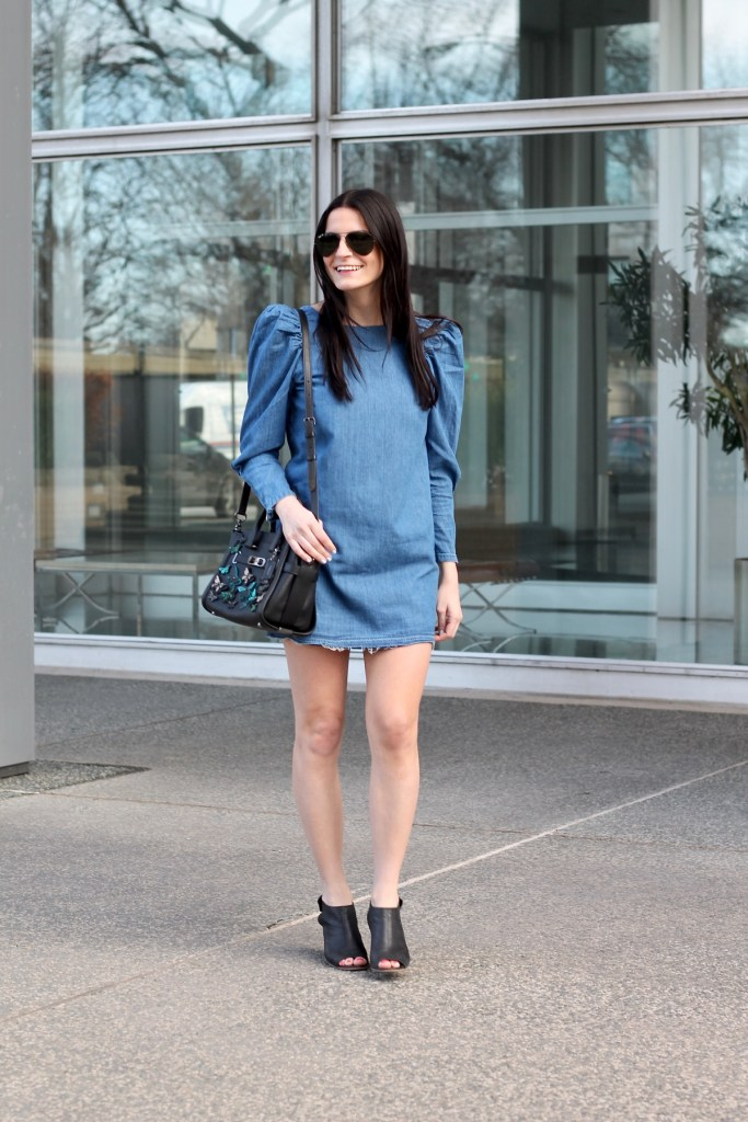 mini denim frayed dress