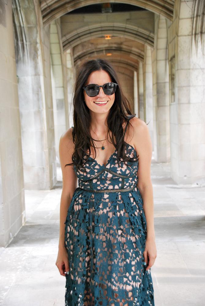 summer green lace dress