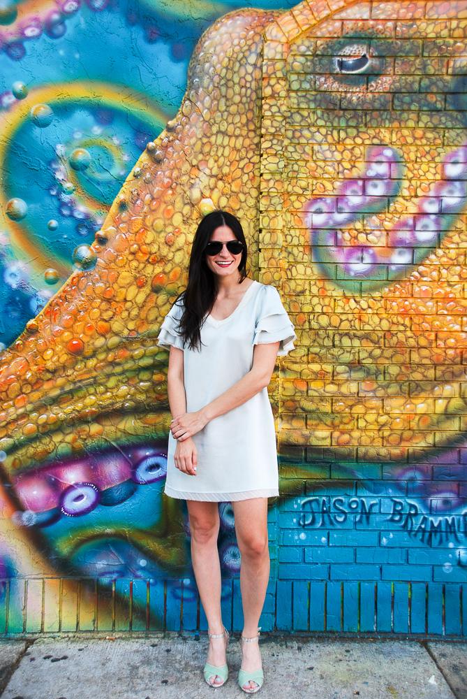 mint dress and mint shoes