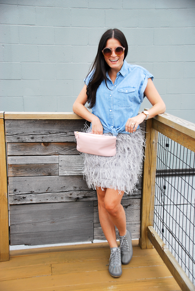 gray feather dress layered