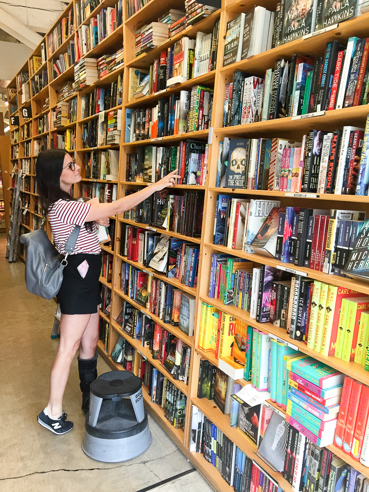checking out the stacks at powell's