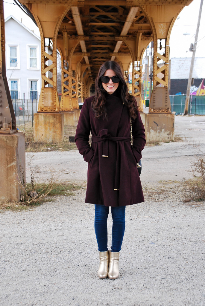 Burgundy Michael Kors Coat