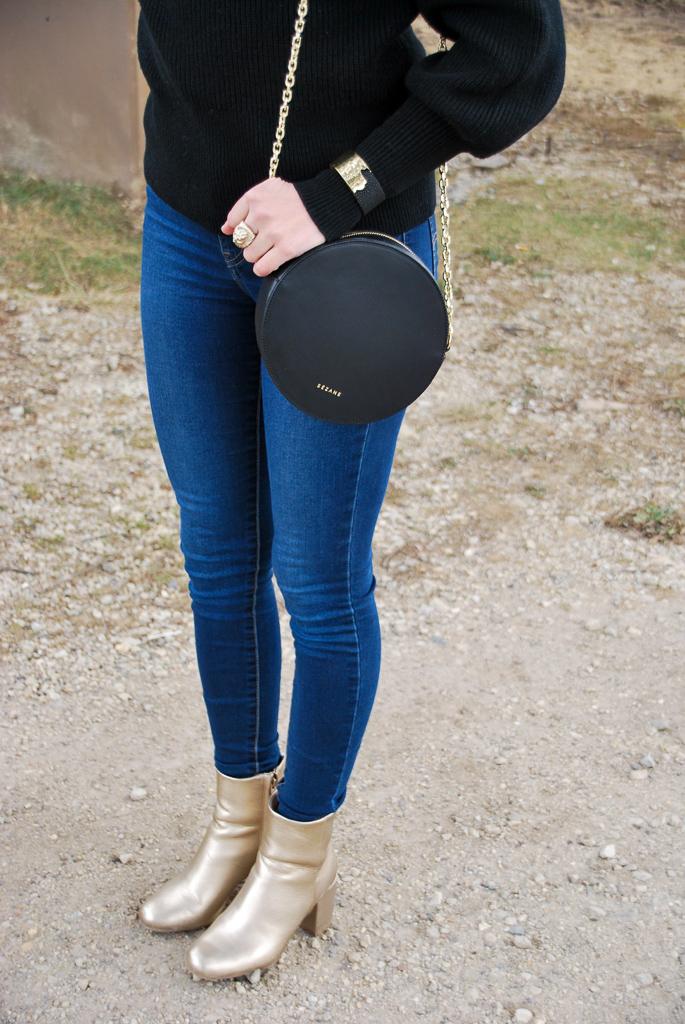 Sezane Black Nicolas Round Handbag With Gold Chain