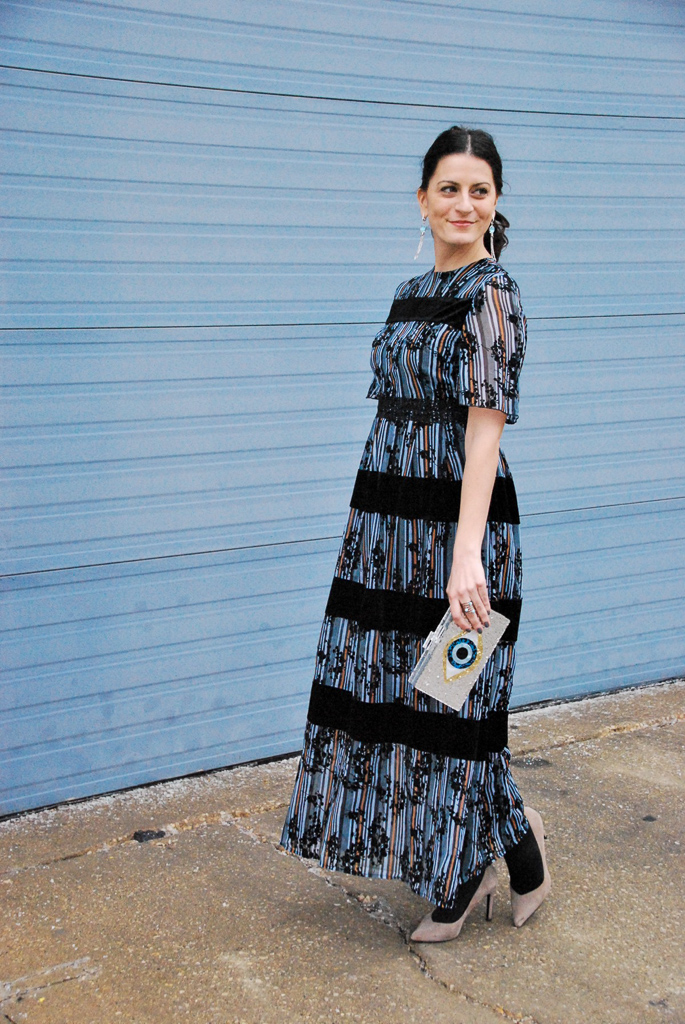 maxi blue stripe dress
