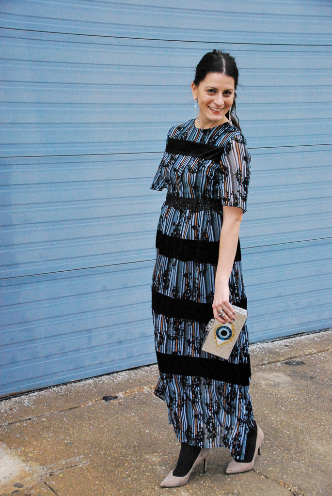winter blue maxi dress