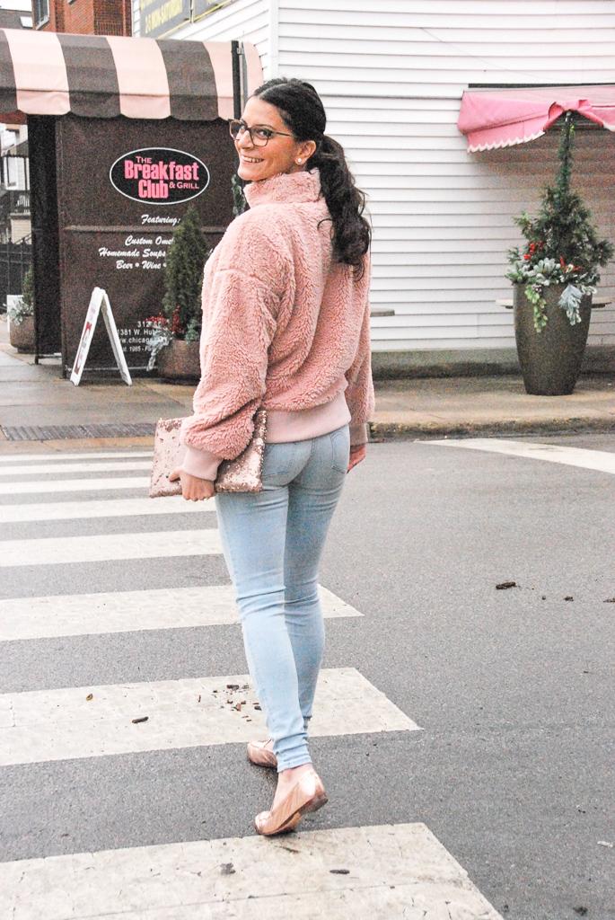 Pink sherpa mockneck pullover
