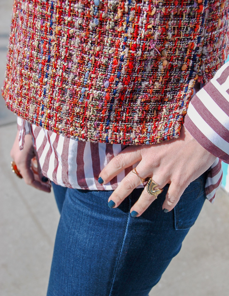 colorful tweed and stripes