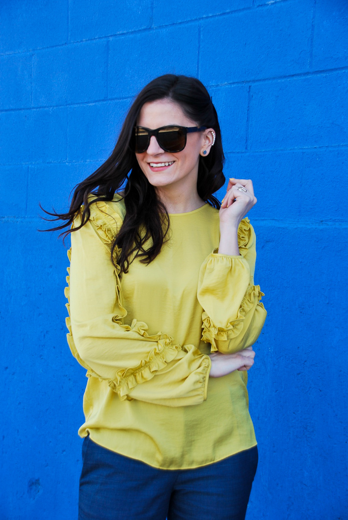 yellow ruffle long sleeve shirt
