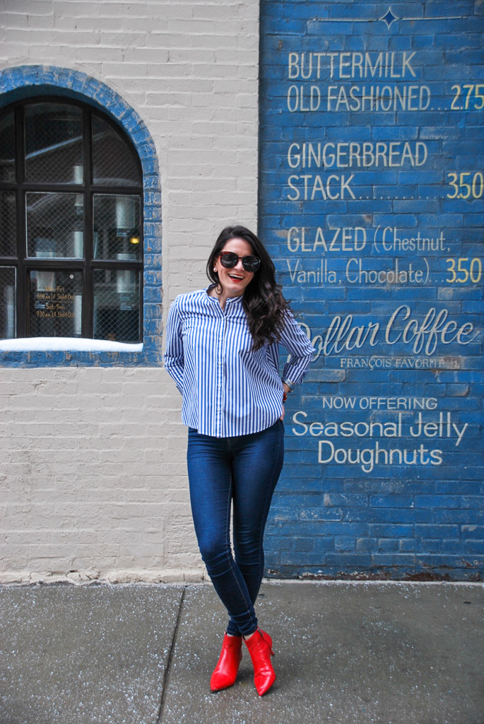 Blue and White Striped Collarless Shirt