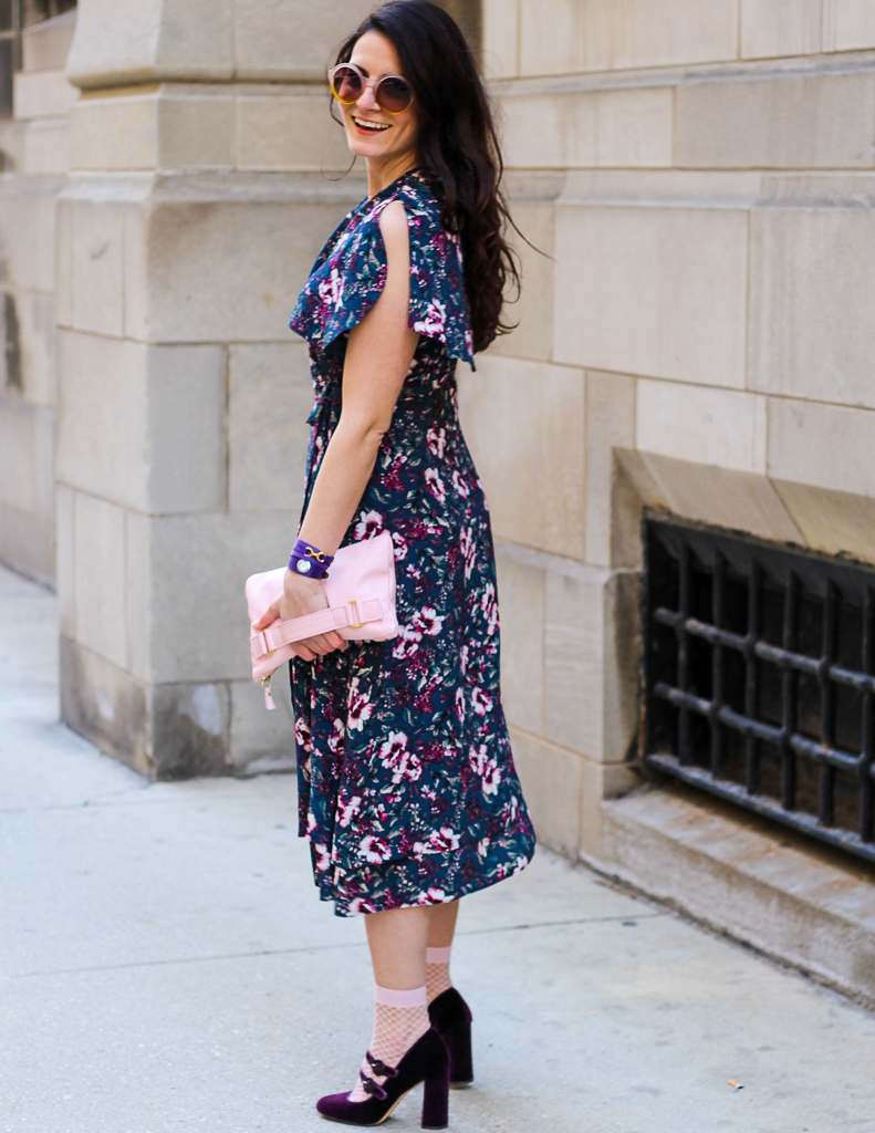 floral midi dress with cape