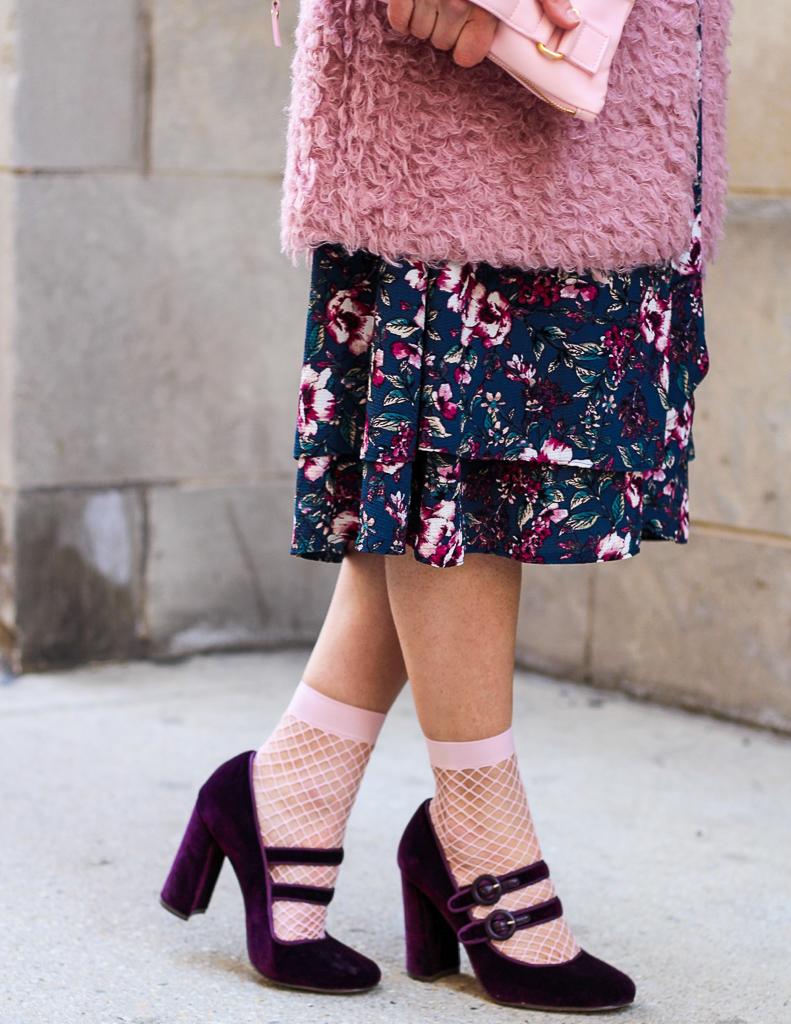 pink fishnet socks and purple velvet mary janes