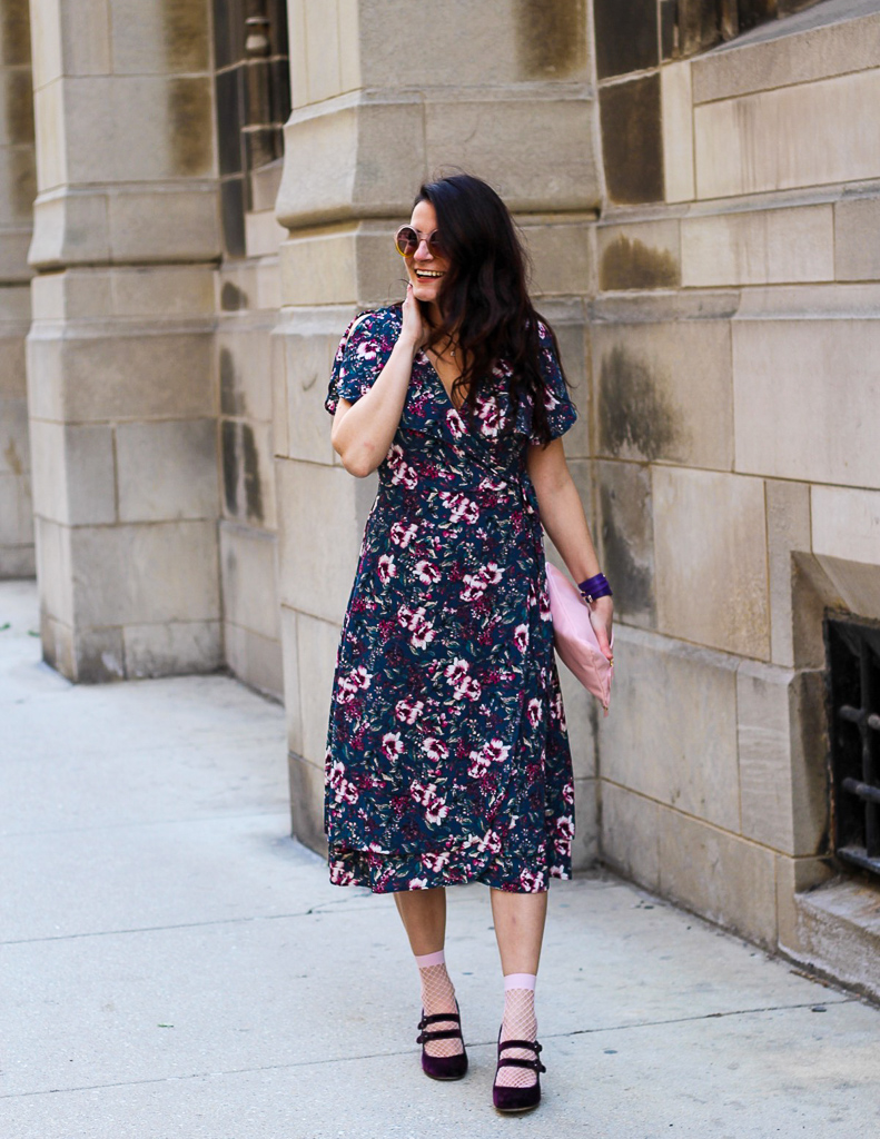 dark floral wrap dress