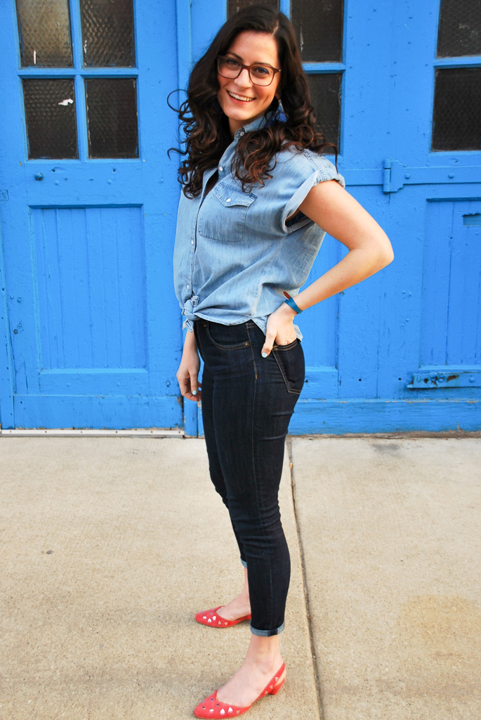 chambray shirt with dark denim jeans