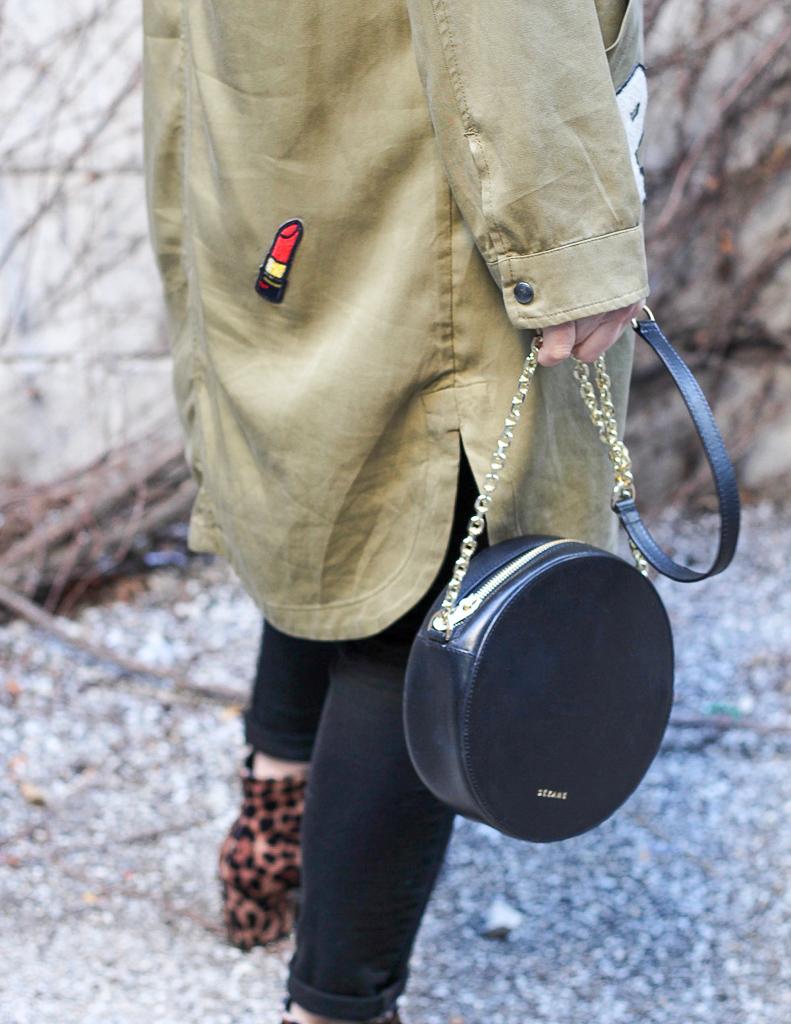 sezane handbag and zara coat with patch