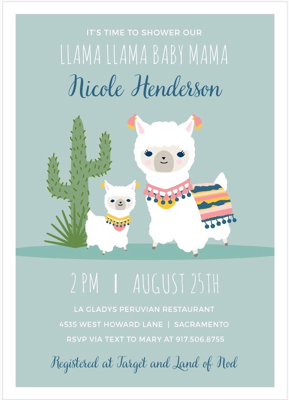 baby llama baby shower invitation
