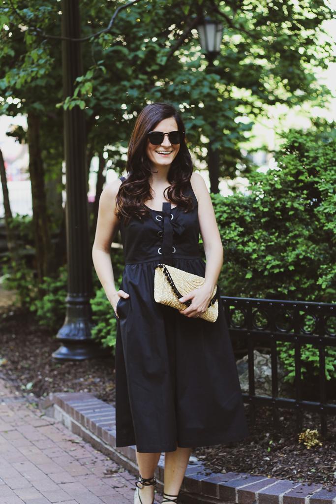 black midi dress with pockets
