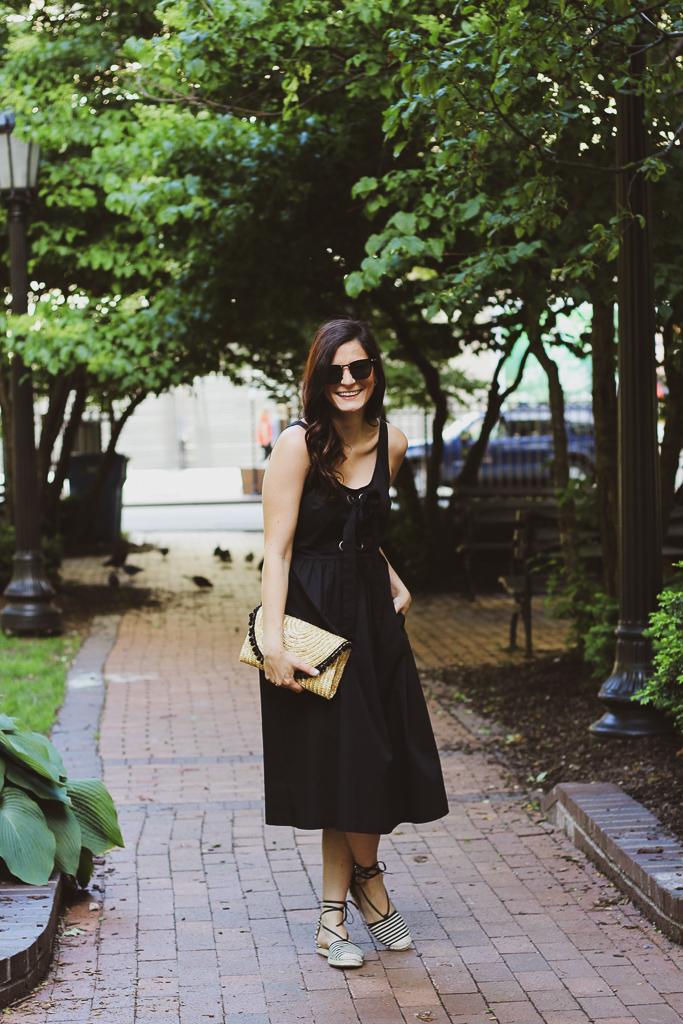 black front tie sleeveless midi dress