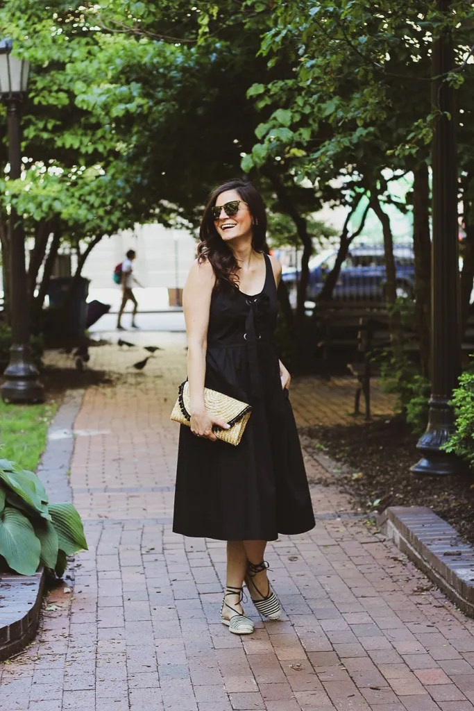 Who What Wear Black Sleeveless Midi Dress