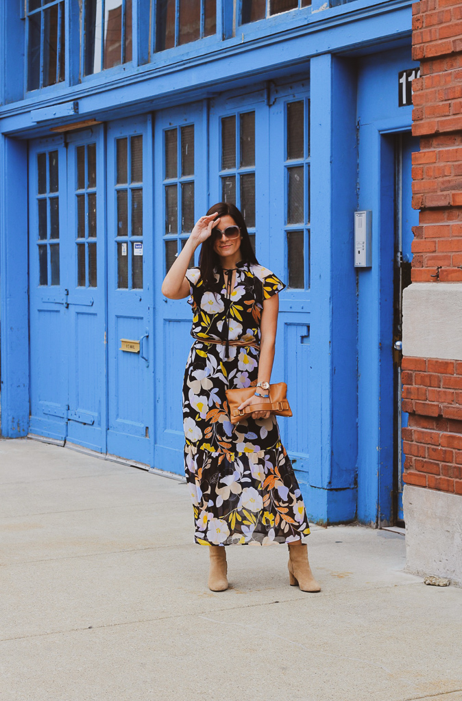 short flutter sleeve floral dress