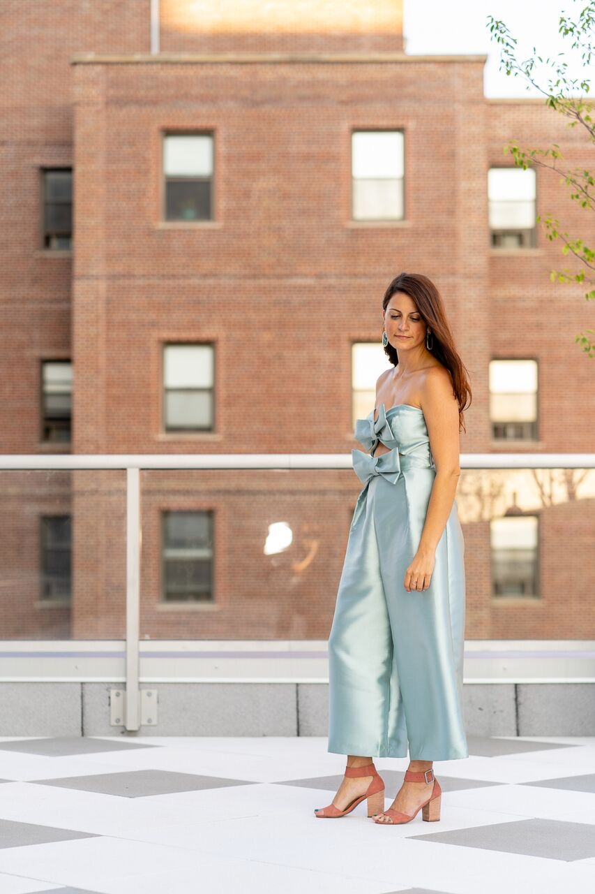 bows strapless mint structured jumpsuit