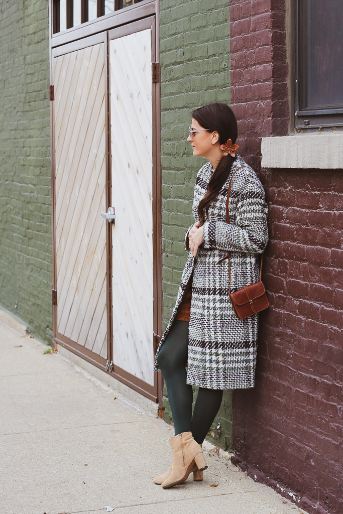 green and brown plaid coat