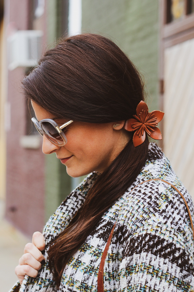 leather flower ponytail holder