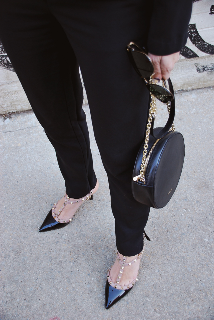 rockstud valentino shoes, circle sedane handbag and rayban blaze clubmaster sunglasses