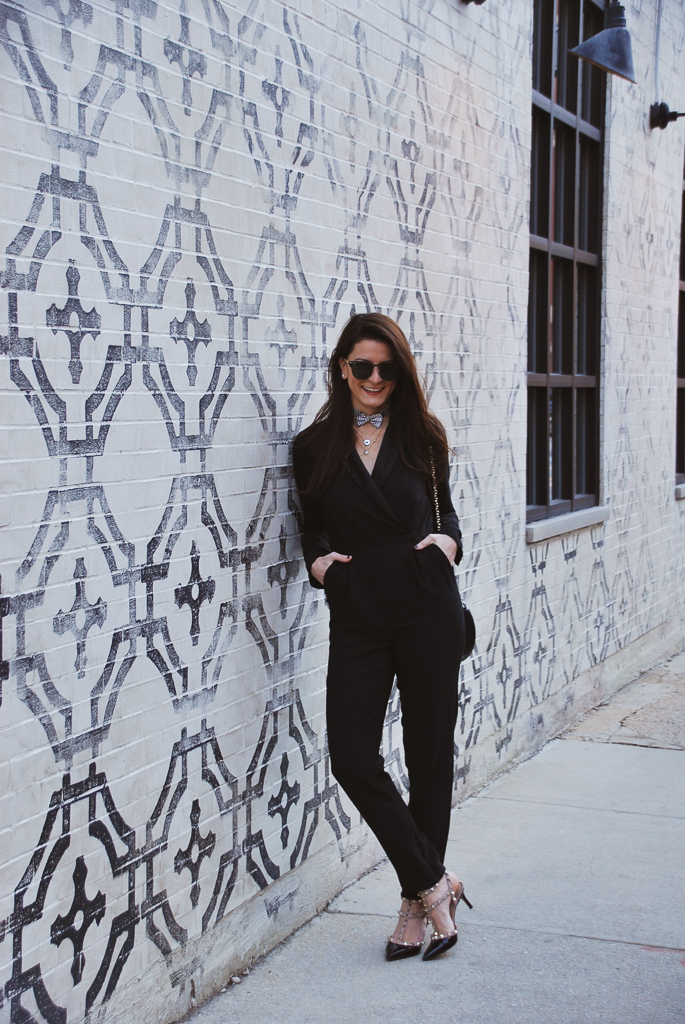 black tuxedo jumpsuit and rockstud valentino shoes