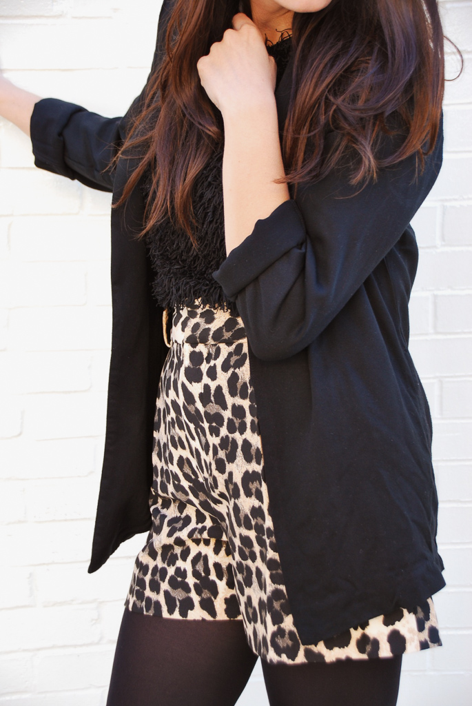 leopard shorts and black blazer