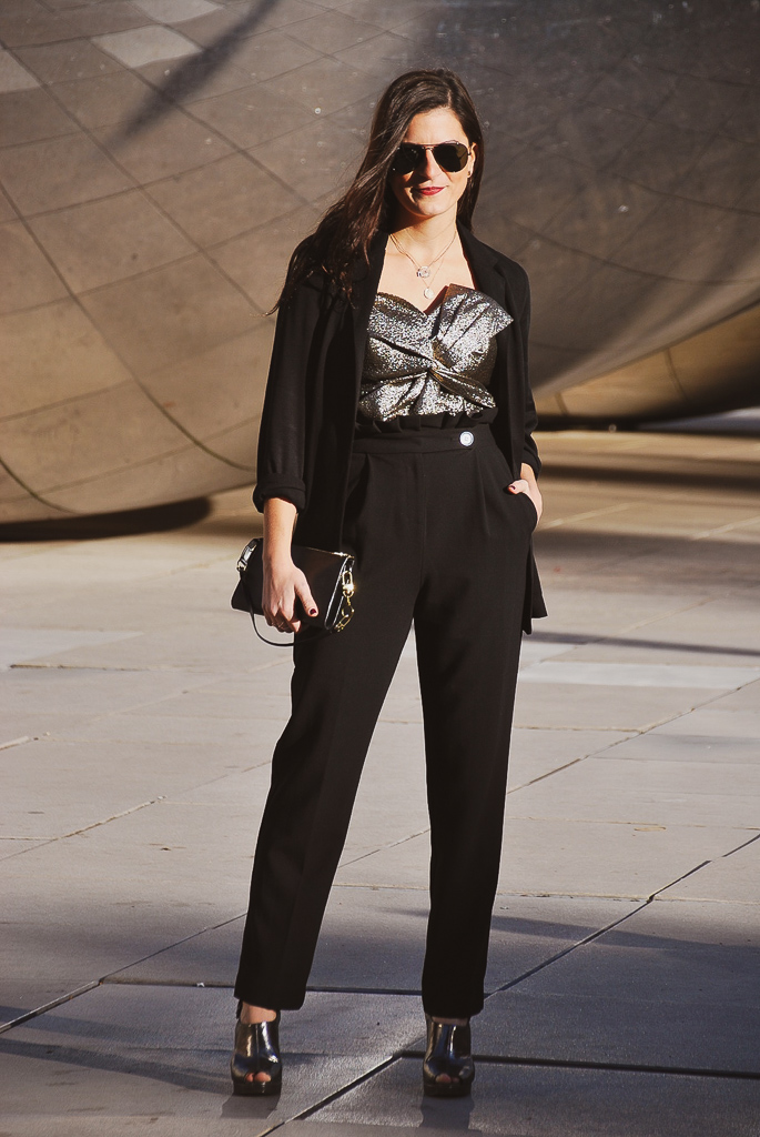 black blazer and black high waisted trousers