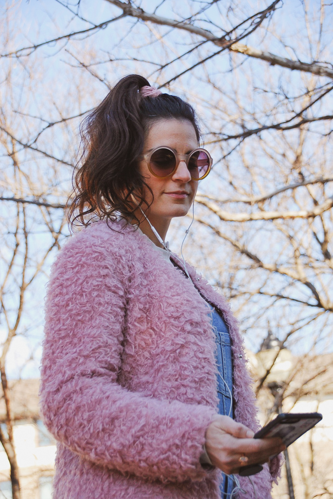 pink scrunchie, pink sunglasses, pink coat