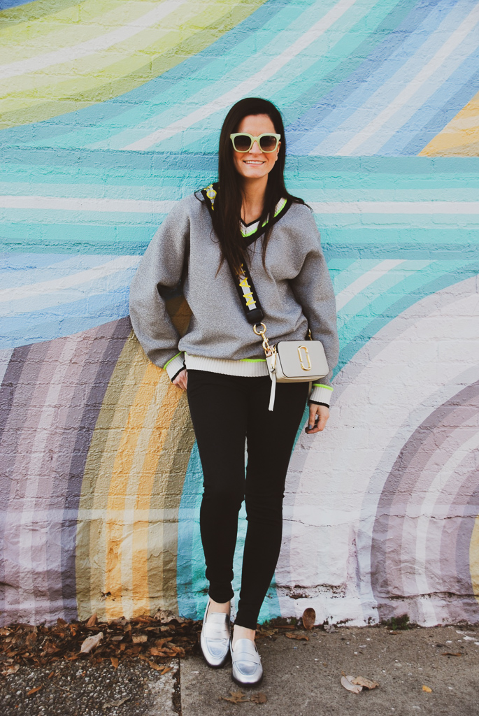 metallic and neon sweater