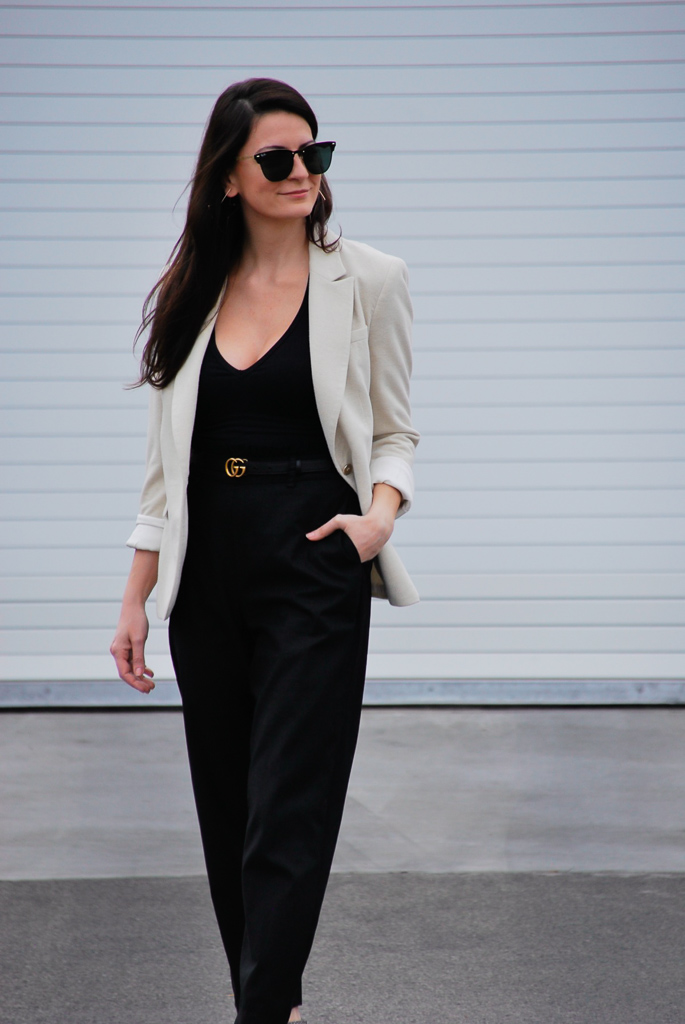 business casual black on black with cream jacket