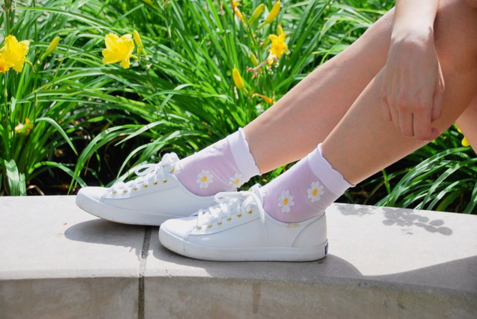 White Keds sneakers with flower socks
