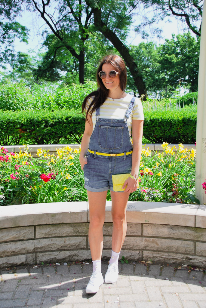 denim shortalls with yellow t-shirt