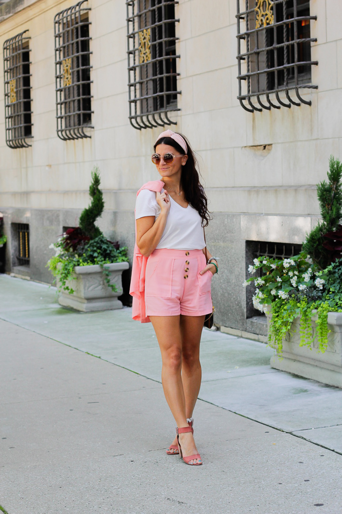 pink shorts, pink shoes, pink suit, pink sunglasses, pink knotted headband