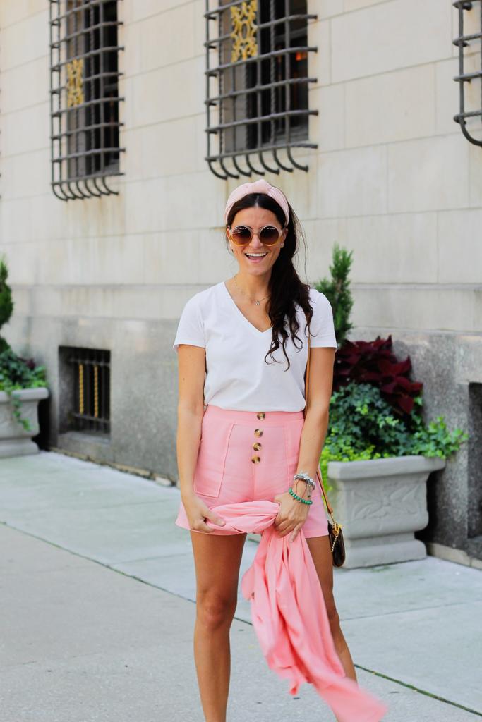 pink shorts suit