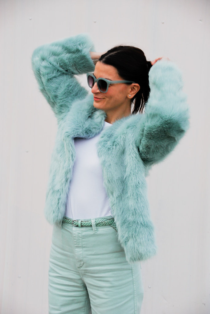 minty fresh mint faux fur coat