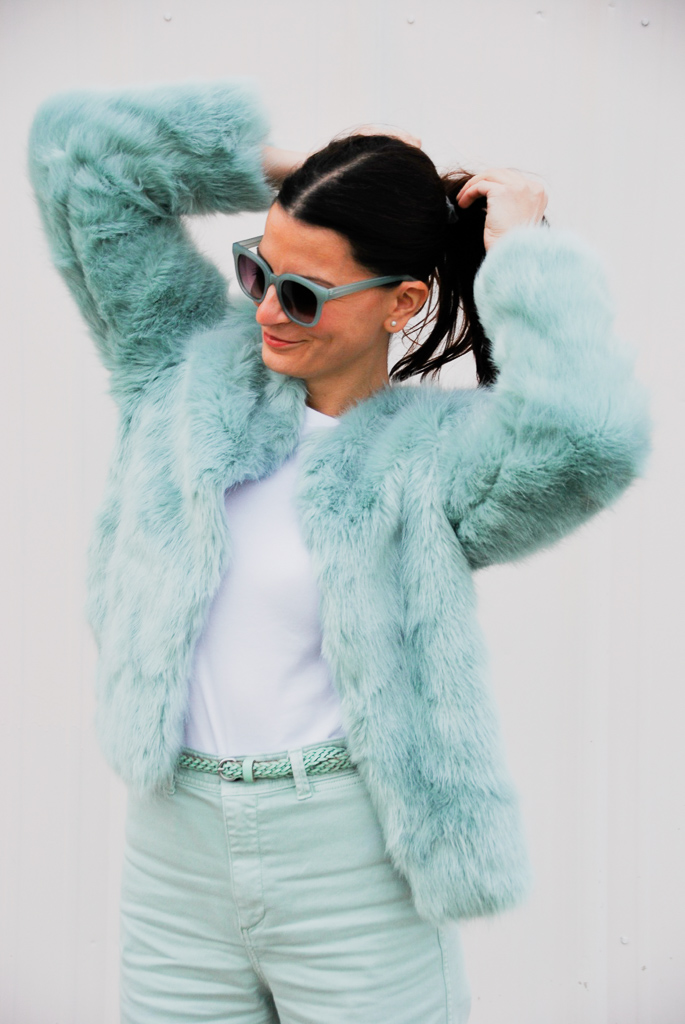 loft square sunglasses and fuzzy mint green coat