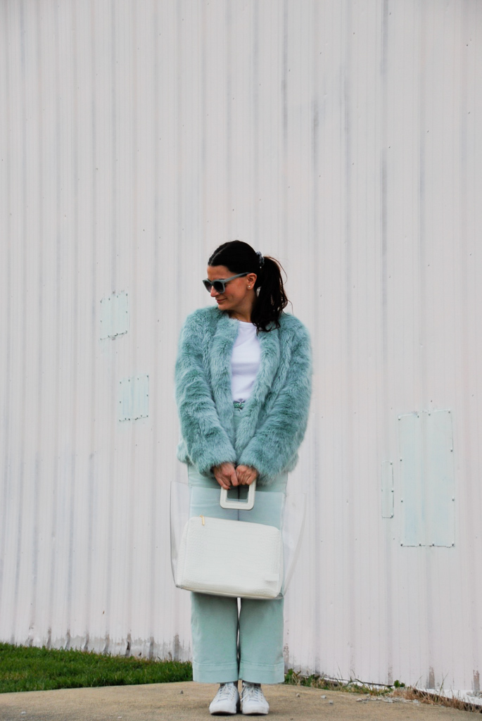 mint green and white outfit