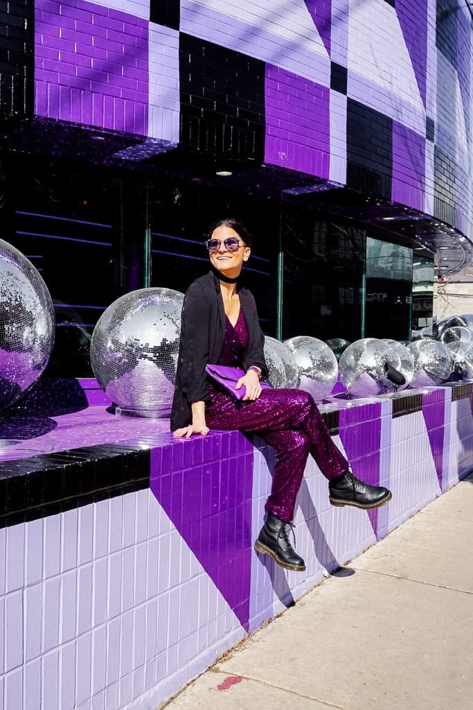 purple sequin jumpsuit