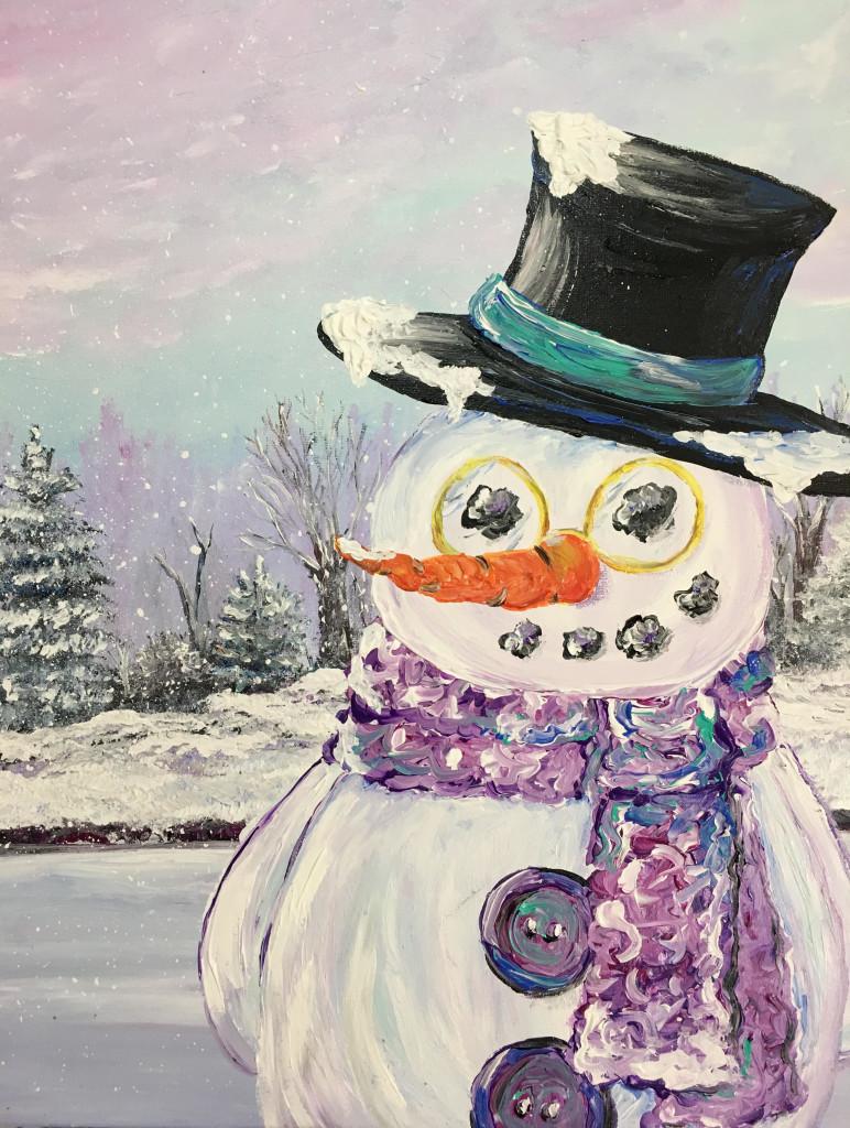 Snowman Buttons Acrylic On Canvas