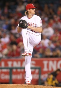 Jered Weaver thows a pitch during a game against the Oakland A's at Angel Stadium on April 22, 2015 (Stephen Dunn/Getty Images)