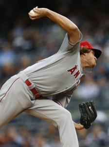 Jered Weaver delivers a pitch during the first inning of a game against the New York Yankees at Yankee Stadium on June 5, 2015 (Rich Schultz/Getty Images)
