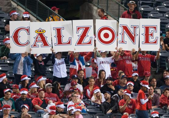 Fans hold up the new Calzone sign for the Angels' Kole Calhoun in the sixth inning Tuesday night at Angel Stadium. ////ADDITIONAL INFO:    angels.0603.kjs  ---  Photo by KEVIN SULLIVAN / Orange County Register  --  6/2/15 The Los Angeles Angels take on the Tampa Bay Rays Tuesday night at Angel Stadium.