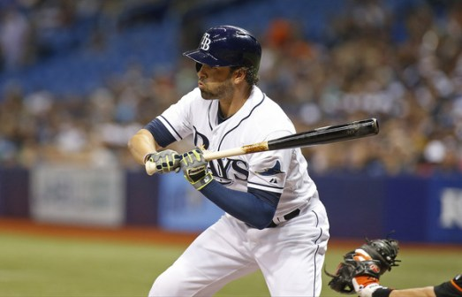 David DeJesus takes ball four during an at-bat in the second inning of a game against the Baltimore Orioles at Tropicana Field on July 24, 2015 (Brian Blanco/Getty Images)