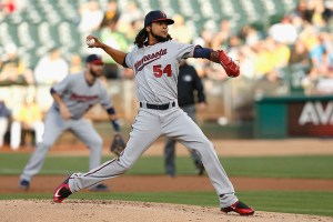 Ervin Santana delivers a pitch during the first inning of a game against the Oakland Athletics at O.co Coliseum on July 17, 2015 (Lachlan Cunningham/Getty Images)