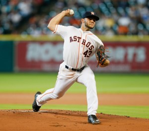 Lance McCullers delivers a pitch during the first inning of a game against the Boston Red Sox at Minute Maid Park on July 23, 2015 (Bob Levey/Getty Images)