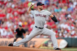 Corey Kluber delivers a pitch during the second inning of a game against the Cincinnati Reds at Great American Ball Park on July 18, 2015 (Kirk Irwin/Getty Images)