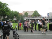 line for Citizenship Naturalization Ceremony